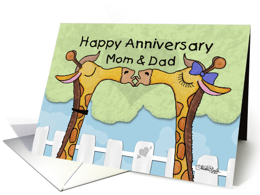 Happy Anniversary to Parents- Kissing Giraffes card (827845)