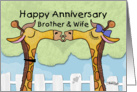 Happy Anniversary to Brother and Wife- Kissing Giraffes card