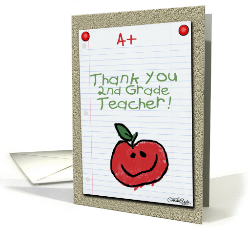 Thank You for 2nd Grade Teacher-A+ Notebook Paper card (890256)