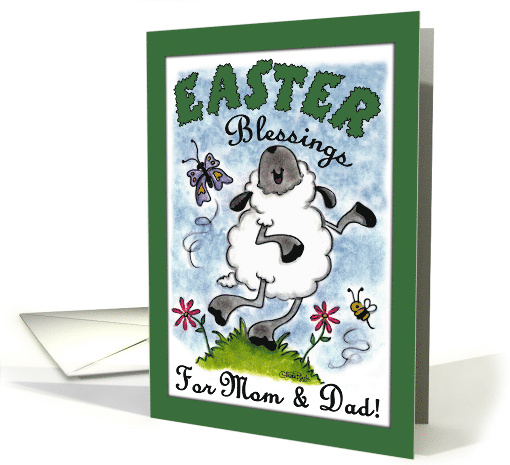 Happy Easter Blessings for Mom and Dad- Dancing Lamb card (898391)