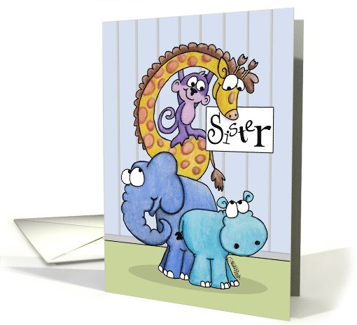 Happy Birthday to Sister-Zoo Animals card (948788)