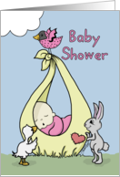 Baby Shower Invitation for Girl-Baby Bundle with Animals card
