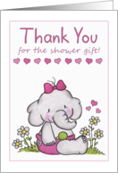 Thank You for shower gift- Baby Girl Elephant in Daisies card