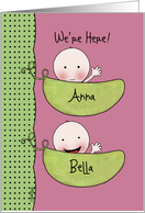 Custom Birth Announcement Twin Girls-Peapod Babies for light skin card
