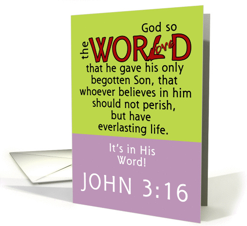 Happy Easter -In His Word -John 3:16 Scripture card (993749)