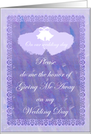 Purple Heart Stand In Give Me Away Attendant Wedding Invitaion card