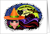 Witch and Black Cat Happy Birthday on Halloween Granddaughter card
