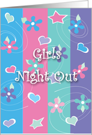 Girls Night Out Invitation Any Occasion Flowers Hearts Stars Design Card