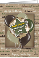 Camouflage Happy Birthday for Police Officer card