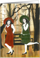 Ladies In Park, Abstract Theme card