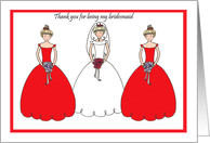 Red Thank You Bridesmaid Card
