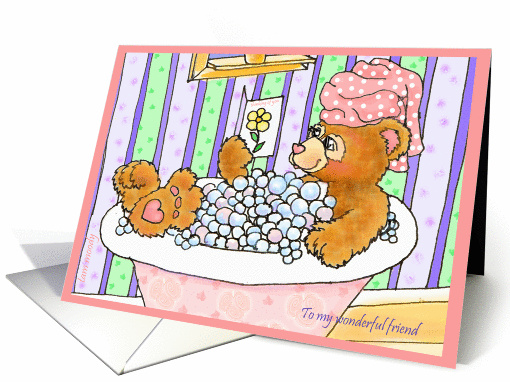 Thinking of You Friend Bubblebath Bear card (188193)