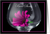 Bridal Shower Flower in Wine glass Invitations Card