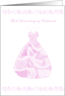 Thank you Bridesmaid Satin Cut Out Dress card