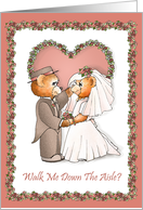 Will You Walk Me Down The Aisle? Teddy Bear Bride and Groom Invitations card