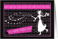 Bachelorette Girls Night Out Party Invitations Soaring Hearts & Dancing Bride card