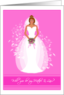 Blushing Bride African American Will you be my Mother In Law? Invitations Greeting Cards