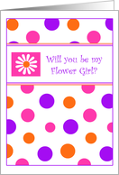 Polka Dots & Daisies Flower Girl Invitations Wedding Attendant Invitations Greeting cards