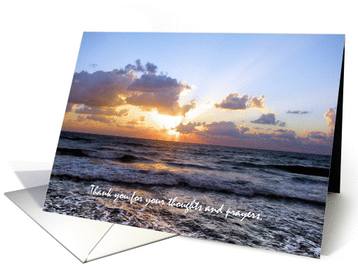 Sunset on Waves Thank You Bereavement card (432232)