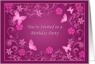 Mulberry Wine Birthday Party Invitations for Her Cards Elegant Mauve Paper Greeting Cards