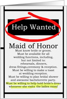 Humorous Maid of Honor Invitations Help Wanted Ad Cards