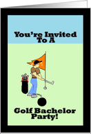 You're Invited To A Golf Bachelor Party - Blank Inside card