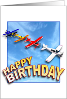 Airplanes Happy Birthday card