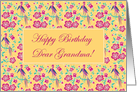 Sakura Floral Batik Happy Birthday Grandmother Card