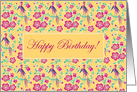 Sakura Floral Batik Happy Birthday Card