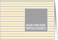 Amber Stripe Business Customer/Client Apology Card