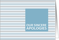 Cornflower Stripe Business Customer/Client Apology Card