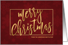 Merry Christmas Gold Stripes Hand-Lettered Holiday Greetings card