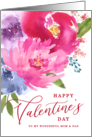 Happy Valentine's Day Watercolor Bouquet Mom and Dad card
