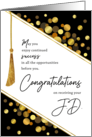 JD Graduation Congratulations Faux Tassel with Gold Confetti Dots card
