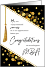 MBA Graduation Congratulations Faux Tassel with Gold Confetti Dots card