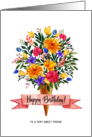 Happy Birthday Friend Ice Cream Cone Flowers Bouquet card