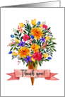 Thank You Ice Cream Cone Flowers Bouquet card