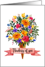 Thinking of You Ice Cream Cone Flowers Bouquet card