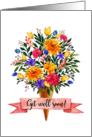 Get Well Soon Ice Cream Cone Flowers Bouquet card