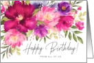 Happy Birthday from All of Us Watercolor Spring Garden Flowers card