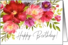 Happy Birthday Watercolor Spring Garden Flowers card
