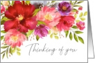 Thinking of You Watercolor Spring Garden Flowers card