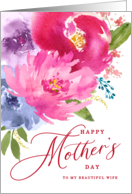 Happy Mother's Day Watercolor Bouquet to Wife card