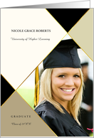 Graduation Announcement Ivory and Sage Argyle with Photo card
