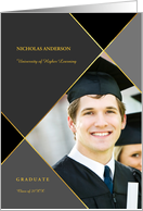 Graduation Announcement Gray and Black Argyle with Photo card