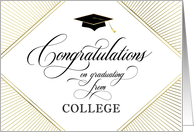 College Graduation Congratulations Elegant Art Deco Gold on White card