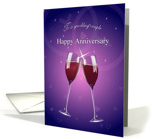 Happy Anniversary Sparkling Wine Glass Toast with Hearts card (206018)