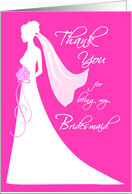 Bridesmaid Thank You Card - pink card