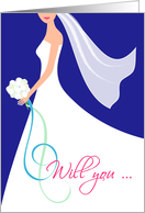 Will You Be My Maid of Honor Invitation Card - Navy Blue card
