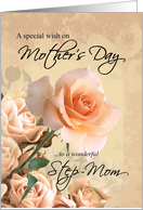 Happy Mother's Day, Step-Mom - Vintage Rose card